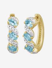 Diamond Accent & Sky Blue Topaz Hoop Earrings