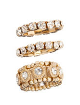 Signature Studio 3-pc. Stretch Crystal Rings Set