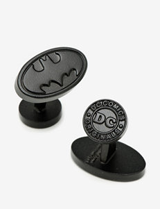 Cufflinks Satin Black Oval Batman Logo Cufflinks