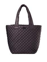 Steve Madden Black Brover Quilted Nylon Tote Bag Handbag
