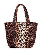 Steve Madden Leopard Print Brover Quilted Nylon Tote Handbag