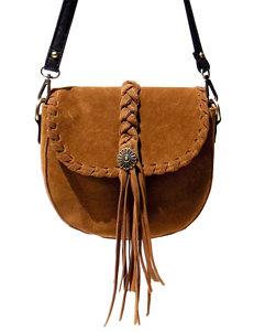 Olivia Miller Braided Fringe Whip Stitch Crossbody Handbag