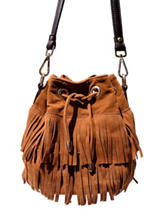 Olivia Miller Mini Double Layer Drawstring Fringe Bucket Handbag