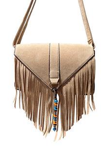 Olivia Miller Triangle Fringe Chain Beaded Crossbody Handbag