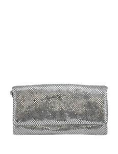 La Regale Metal Mesh Fold-Over Wristlet Clutch Handbag