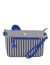 Buxton Black & White Striped Crossbody Bag