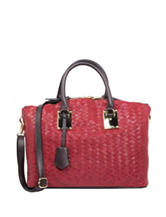 London Fog Smithfield Faux Woven Satchel