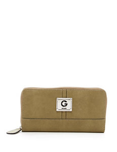 G by Guess Santee Faux Snakeskin Zip Around Wallet