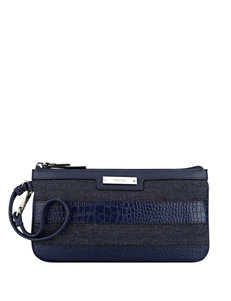 Nine West Faux Croco-Embossed Color Block Table Treasures Wristlet