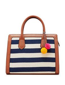 Sugar Blue & White Stripe Print Tote Bag