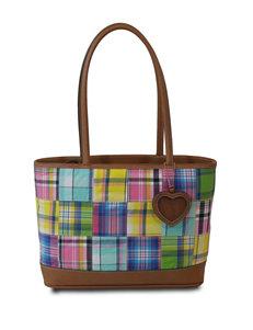 Bueno Madras Plaid Shopper Tote Bag