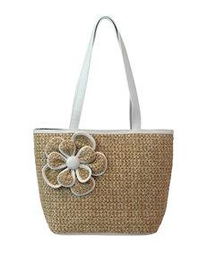Bueno Flower Straw Tote Bag