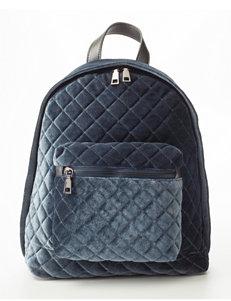 Olivia Miller Faux Velvet Quilted Backpack