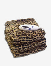 Biddeford Microplush Heated Electric Throw Blanket – Leopard Print
