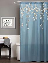Lush Decor Flower Drops Blue & White Shower Curtain