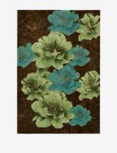 Kathy Ireland Palisades Floral Chocolate Rug
