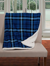 Lavish Home Fleece & Sherpa Blue Plaid Throw Blanket