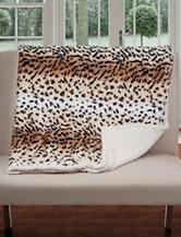 Lavish Home Fleece & Sherpa Tiger Print Throw Blanket