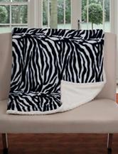 Lavish Home Fleece & Sherpa Zebra Print Throw Blanket