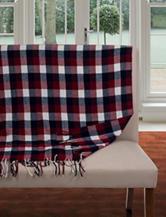 Lavish Home Fringe Trim Red White & Blue Throw Blanket