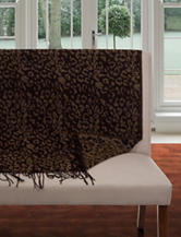 Lavish Home Fringe Trim Black & Brown Animal Print Jacquard Throw Blanket
