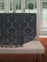 Lavish Home Fringe Trim Grey Floral Jacquard Throw Blanket