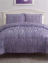 Victoria Classics Ruched Purple Polka Dot Bedding Set