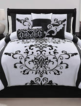 Victoria Classics Camille 7-pc. Back & White Damask Comforter Set