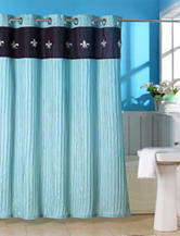 Lavish Home Meridian Embroidered Crinkle Shower Curtain