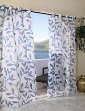 Commonwealth Home Fashions Escape Leaf Grommet Panel – Blue