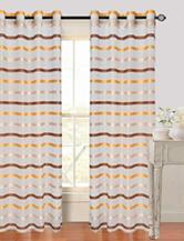 Lavish Home Arla 2-pc. Striped Grommet Curtains Set –Coffee