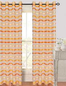 Lavish Home Arla 2-pc. Striped Grommet Curtains – Orange