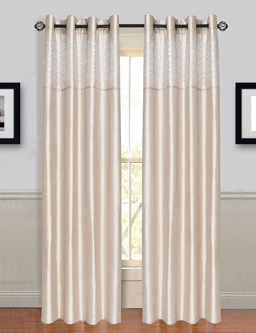 Lavish home alla 2 pc laser cut grommet curtains beige stage stores - Clever window curtain ideas matched with interior atmosphere and concept ...