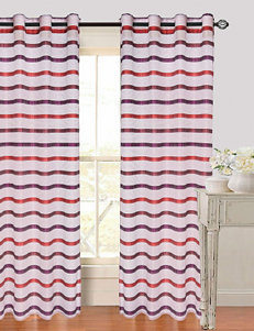 Lavish Home Arla 2-pc. Striped Grommet Curtains – Red