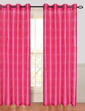 Lavish Home Maggie 2-pc. Faux Silk Striped Grommet Curtain Panels – Fuchsia