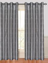 Lavish Home Maggie 2-pc. Faux Silk Striped Grommet Curtain Panels – Grey