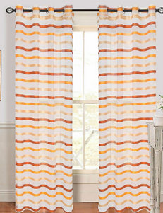 Lavish Home Sonya 2-pc. Striped Grommet Curtains – Orange