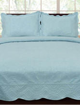 Home & Main 3-pc. Elegance Engraved Quilt Set – Blue