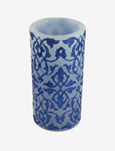 Gordon Blue Brocade Flameless LED Wax Candle
