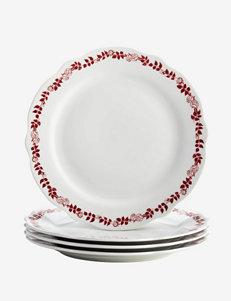 BonJour Dinnerware Yuletide Garland 4-pc. Fluted Dinner Plate Set