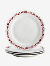 BonJour Dinnerware Yuletide Garland 4-pc. Fluted Dinner Plate Set