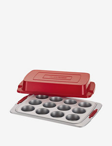 Cake Boss 12-Cup Gray Covered Muffin Pan with Red Silicone Grips