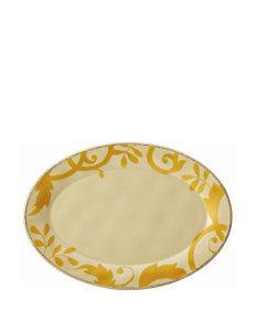 Rachael Ray Gold Scroll Round Platter