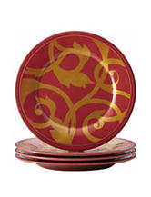 Rachael Ray 4-pc. Gold Scroll Round Appetizer Plate Set