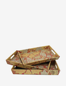 Three Hands 3-pc. Floral Wooden Trays