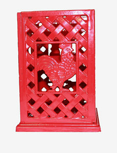 Anchor Hocking Red Cast Iron Rooster Utensil Holder