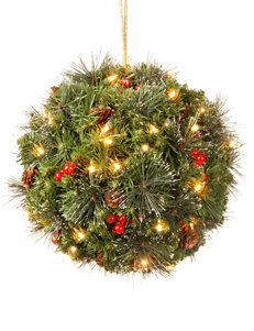National Tree Company 16 Inch Spruce Kissing Ball With LED Lights