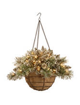 National Tree Company 20 Inch Glittery Bristle Pine Hanging Ball With White LED Lights