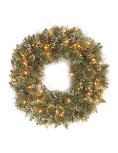 National Tree Company 24 Inch Glittery Bristle Pine Wreath With Clear Lights