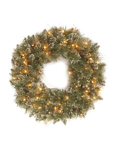 National Tree Company 30 Inch Glittery Bristle Wreath With Clear Lights